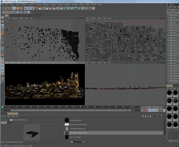 CityEngine loaded into Cinema4D