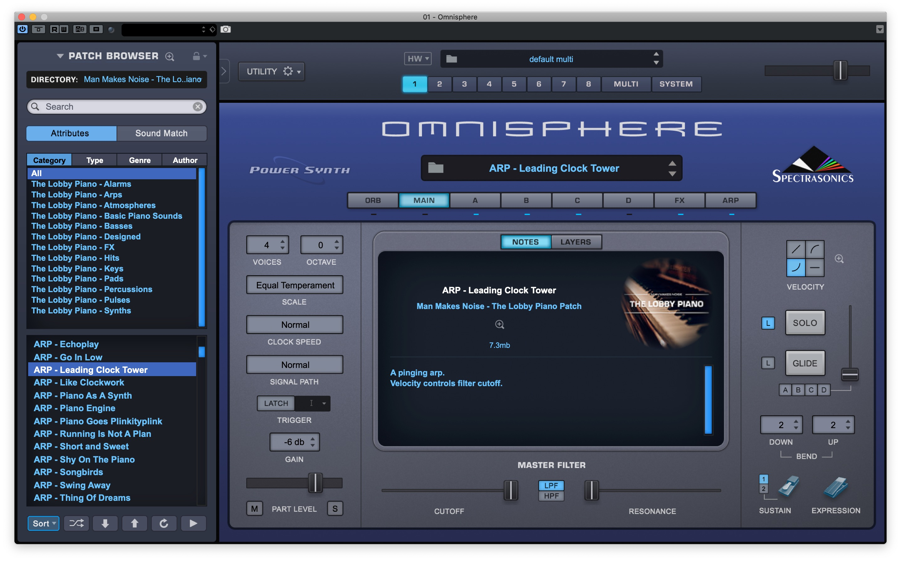 The Lobby Piano (a creative sound design library) for Omnisphere 2 5