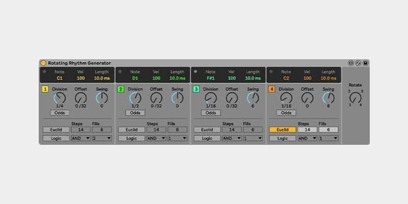 CV Tools in Ableton Live - MIDI Effect Rotating Rhythm Generator